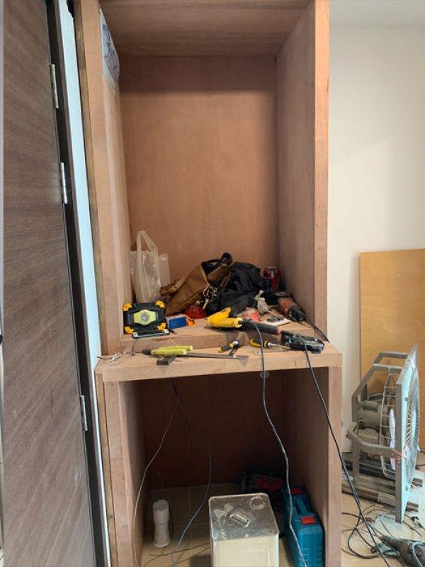 ก่อนทำงานออกแบบและตกแต่ง builtin ตู้เก็บของขนาดใหญ่