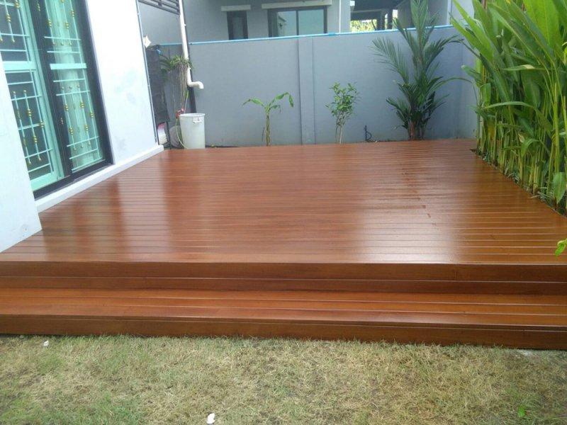 หลังทำงานระแนงไม้เทียม เชื่อมระแนงพื้นไม้เทียม