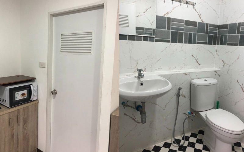กระเบื้องห้องน้ำปูเต็ม ติดตั้งสุขภัณฑ์ตามใจลูกค้า